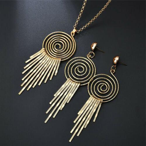 Fashion Jewelry Set Gear Circle Spiral Pendant Necklace Dang