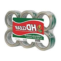 Duck HD Clear Heavy Duty Packaging Tape Refill, 6 Rolls, 1.8