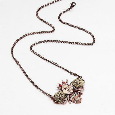 Hot Betsey heart-shaped mechanical owl necklace