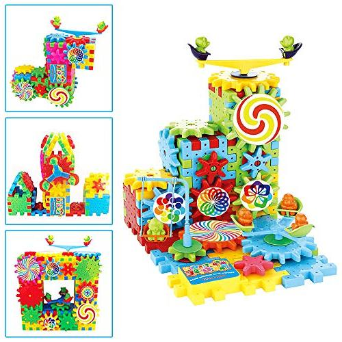 81 Blocks and Gears Set Wheels Perfect Gift Children Bricks Gear Build in Their Own More Fun