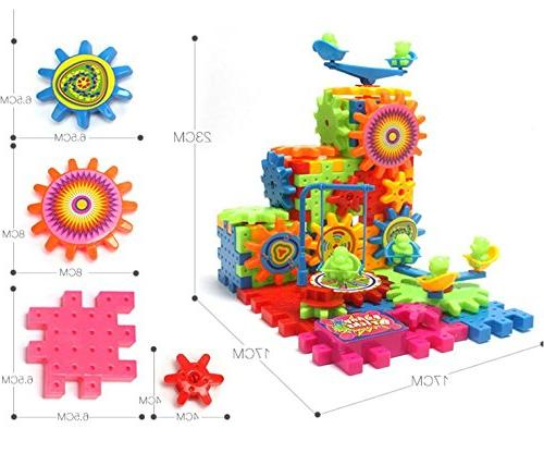 81 Pcs Blocks and Toy Set with Wheels Children Gear Wheels Build Their Own Idea make More