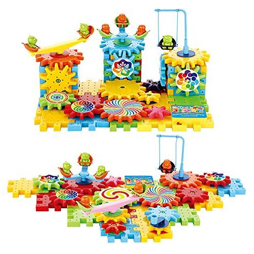 81 Pcs Blocks Set with Spinning Wheels Perfect Gift Children Gear Wheels in Their More Fun