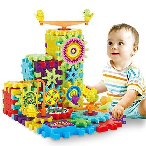81 Blocks and Set with Spinning Wheels Children Kids Bricks Gear Build Their Own More Fun