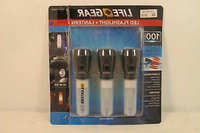 Life Gear LED Flashlight + Lantern- 3 PACK 100 Lumens NEW