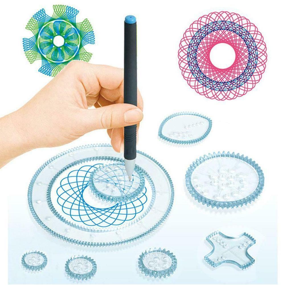 Spirograph Draw Spiral Interlocking Toys Gears DF