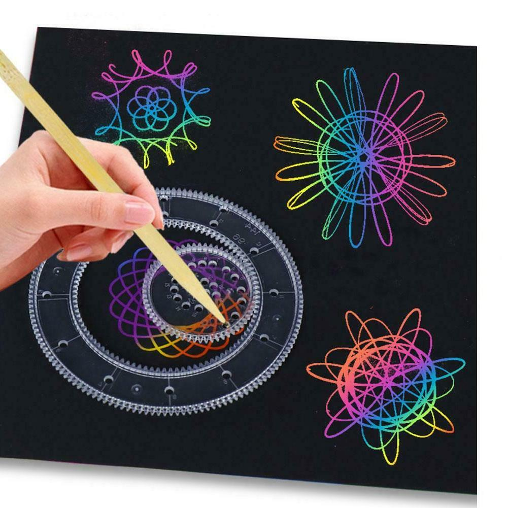 Spirograph Tin Draw Spiral Toys Gears Wheels DF