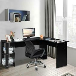 L-shaped Wooden Black Computer Desk Home Office Laptop PC Ta