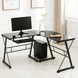 Merax L-shape Computer Desk with Black Glass, Black