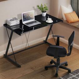 Computer Desk PC Laptop Glass Table Black Workstation Office