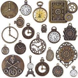 BronaGrand 20pcs Mixed Antiqued Bronze Charms Clock Face Cha