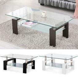 Rectangular Glass Coffee Table Shelf Wood Chrome  Living Roo