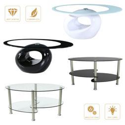 28388191db559 Modern Oval Glass Chrome Coffee Table Side Table w Shelf Liv