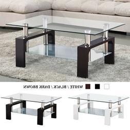 e8134b9e6a8d2 Modern Glass Chrome Coffee Table End Side Table w  Shelves L