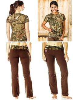 YUKON GEAR Mossy Oak LOUNGE PANTS & SHIRT SET Choose: BROWN