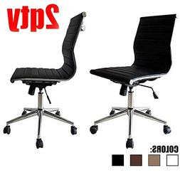 2xhome Set of 2 Office Chair Armless Rolling Modern Ergonomi