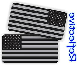Pair - REFLECTIVE Stealthy American Flag Hard Hat Stickers  