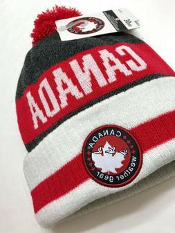 CANADA WEATHER GEAR POM BEANIE gray red white winter knit sk