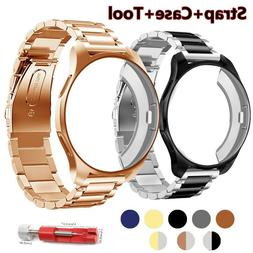 protective case+Stainless Steel Strap For samsung gear S3/Ga