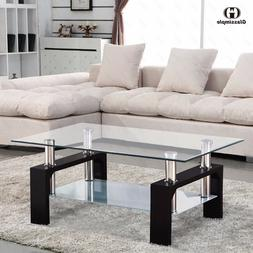 Rectangular Glass Coffee Table Shelf Chrome Black Wood Livin