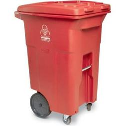 Toter? Red Two-Wheel Medical Waste Cart 64 Gallon With Caste