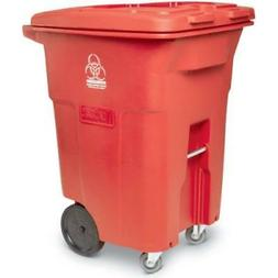 Toter? Red Two-Wheel Medical Waste Cart 96 Gallon With Caste