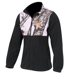 Mossy Oak Pink Snow Camo Black Fleece Jacket, Womens S-XXL