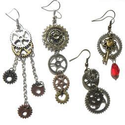 STEAMPUNK GEAR EARRINGS silver bronze red skeleton key clock