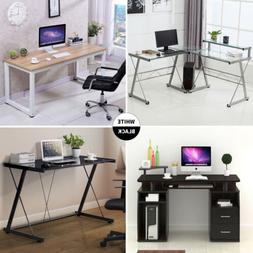 Tempered Glass/ Wood Computer Desk PC Laptop Table Workstati