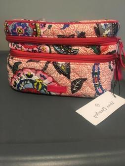 Vera Bradley Jewlery Box Train Case Stitched Flowers NWT