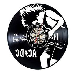 Mkxiaowei Vinyl Record Wall Clock, Vintage Black Wall Clock,