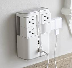 ECHOGEAR On-Wall Surge Protector with 4 Pivoting AC Outlets