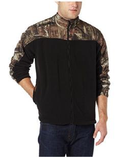 Yukon Gear Men's Casual Fleece Jacket, Black/Mossy Oak Infin